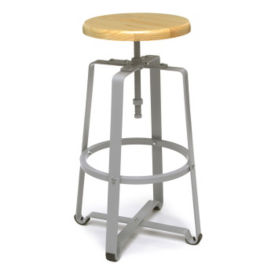Adjustable Height Tall Stool with Solid Wood Seat, L70107