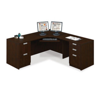 "Contemporary Compact Corner L-Desk - 71"" x 71"", D30245"