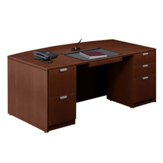 "Contemporary Bow Front Desk - 71"" x 42"", D30247"