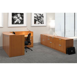 Contemporary Reception L-Desk with Storage, D30255