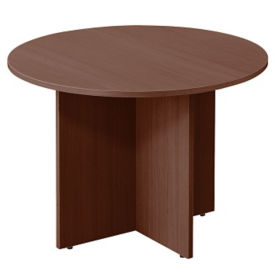 "Contemporary Round Table with Cross Base - 42""DIA, T11809"