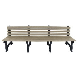 "Recycled Plastic Outdoor Bench with Back - 96""W, F10831"