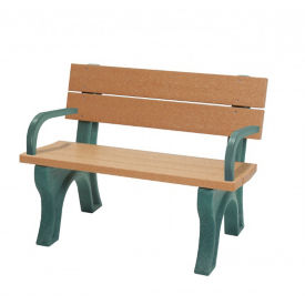 Recycled Plastic Economy Outdoor Bench with Back and Arms - 4 Ft, F10562