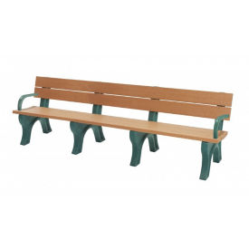 Recycled Plastic Economy Outdoor Bench with Arms - 8 Ft, F10567