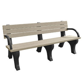 Recycled Plastic Outdoor Flat Bench with Arms - 6 Ft, F10570