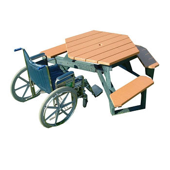 Standard Recycled Plastic Hexagonal Handicap Picnic Table F - Recycled plastic hexagonal picnic table