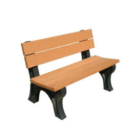 "Traditional Recycled Plastic Outdoor Bench - 48""W, F10198"