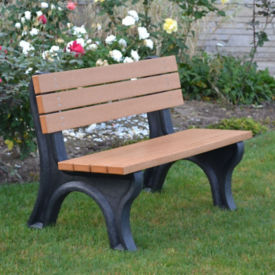 "Deluxe Recycled Plastic Outdoor Bench - 48""W, F10216"