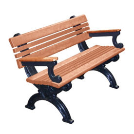 "Cambridge Recycled Plastic Bench with Arms and Back 48""W, F10290"
