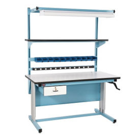 "ESD Laminate Height Adjustable Workbench 72""Wx30""D, T11608"