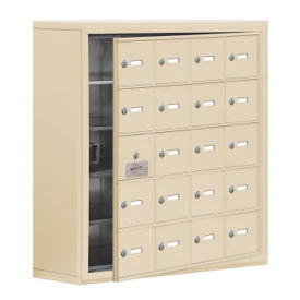 "19 Door Cell Phone Locker with Key Lock and Access Panel - 30.5""W x 31""H, B34642"