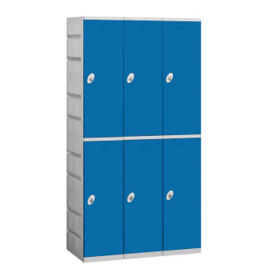 "Assembled Double Tier Plastic Lockers -  38.25"" W, B34655"
