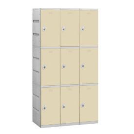 """Assembled Triple Tier Plastic Lockers -  38.25"""" W, B34659"""
