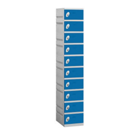 "Assembled Ten Tier Plastic Lockers -  12.75"" W, B34673"