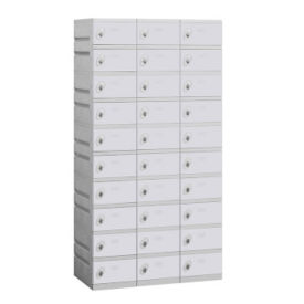 "Assembled Ten Tier Plastic Lockers -  38.25"" W, B34675"