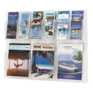 Literature Rack with 6 Brochure and 3 Magazine Pocket, D33037