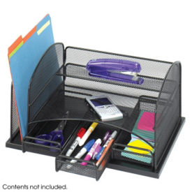 Black Steel Mesh Three Drawer Desk Organizer, B30424