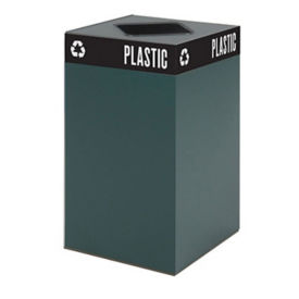 "25 Gallon Steel Trash Receptacle with Waste Top - 26""H, R20254"