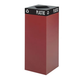 "37 Gallon Steel Trash Receptacle with Waste Top - 38""H, R20256"