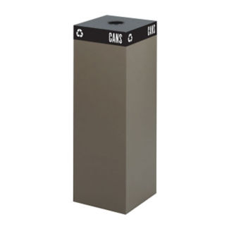 "42 Gallon Steel Recycling Receptacle with Can Top - 44""H, R20261"