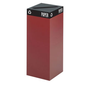 "37 Gallon Steel Recycling Receptacle with Paper Top - 38""H, R20264"