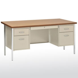 "Lockable Compact Steel Double Pedestal Desk - 60""W, D30209"