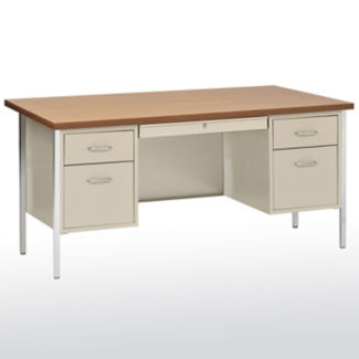 "Lockable Steel Double Pedestal Desk - 72""W, D30211"