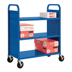 Three Flat Shelf Book Truck, V21404