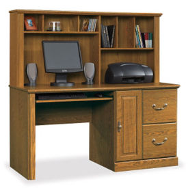 Single Pedestal Computer Desk with Hutch, C80223S