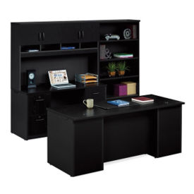 Executive Desk with Locking Storage Wall , D30199