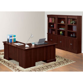 Right Return L-Desk and Bookcase Wall Set, D35286