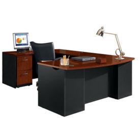 Executive Bowfront U-Desk with Locking Pedestals , D35685