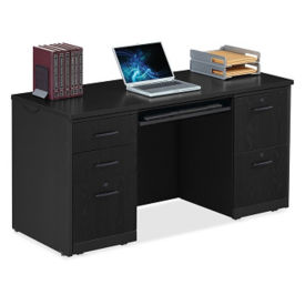 """Locking Double Pedestal Credenza with Keyboard Tray - 60""""W, D35688"""