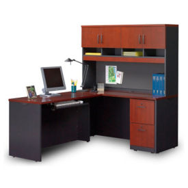 Compact L-Desk with Soft-Close Hutch , D35698