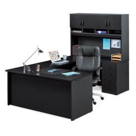 Compact U-Desk with Soft-Close Hutch, D35700