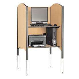 "Adjustable Height Kiosk Carrel with Printer Shelf 45""-57"", D35233"