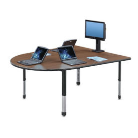 "Adjustable Height Round End Media Table with Power - 72.75"" x 60.5"", A10047"