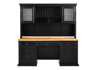 "Distressed Black with Oak Top Desk with Hutch - 69""W, D37775"