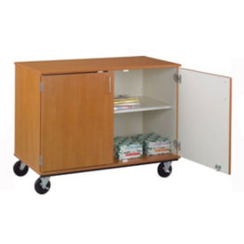 "Divided Shelf Mobile Teacher Storage Cabinet with Lock - 36""H, B30009"
