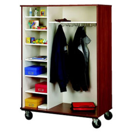"Divided Shelf and Coat Storage Cabinet - 67""H, B34603"