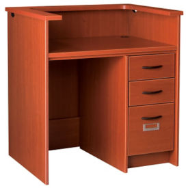 "Kneespace Circulation Desk with Patron Ledge and Locking Right Drawers 40""H, D35209"