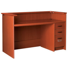 "Circulation Desk with Patron Ledge and Locking Right Pedestal 60""W x 40""H, D35214"