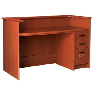 "Circulation Desk Station with Patron Ledge and Right Pedestal 60""W x 40""H, D35213"