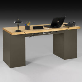 "Heavy-Duty Double Pedestal Steel Desk with Butcher Block Wood Top - 72""W, D34550"