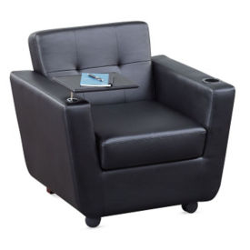 New York Faux Leather Club Chair with Tablet Arm, C80478