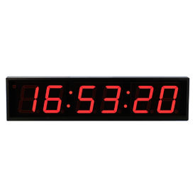 "4"" LED Six Digit Clock with Timer - 27""W, V22116"