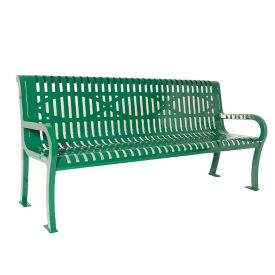 Plastic Coated Wave Back Outdoor Bench - 4'W, F10404