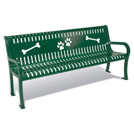 BarkPark Plastic Coated Outdoor Dog Park Bench - 6'W, F10413