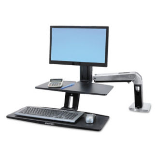 Light Duty Single Monitor Adjustable Height Desktop Arm with Worksurface, E10012