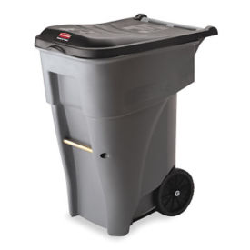 Heavy Duty Rolling 65 GallonTrash Container with Lid, R20215